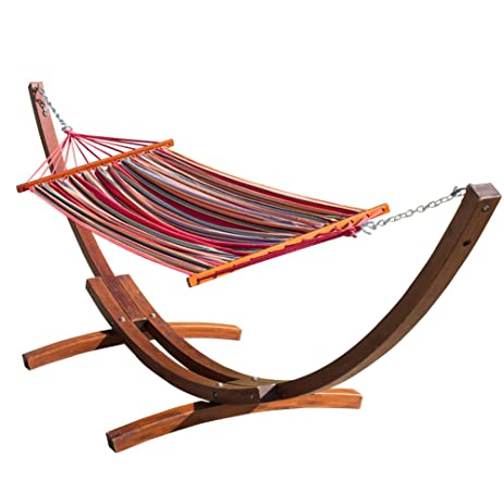 toucan outdoor 12 feet wood arc hammock stand with cotton hammock amazon     toucan outdoor 12 feet wood arc hammock stand with      rh   amazon
