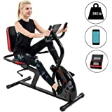 Vanswe Recumbent Exercise Bike 16 Levels Magnetic Tension Resistance 380 lbs. Stationary Bike with Adjustable Seat…