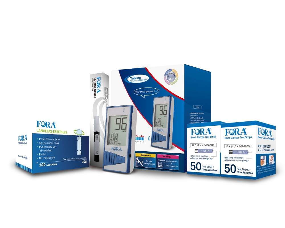 Amazon.com: FORA V12 Kit de pruebas de diabetes (1 FORA V12 ...