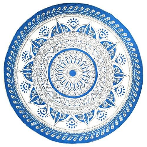 (YJ-Bear Round Indian Mandala Boho Beach Towel Throw Yoga Mat Blanket Wall Hanging Tapestry Roundie Table Cloth Cover Chiffon Blue 59