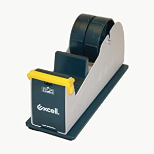 """excell EX-17/2P Excell EX-17 Steel Desk Top Tape Dispenser: 2"""" Wide/Padded Foam Base, Blue/Grey"""