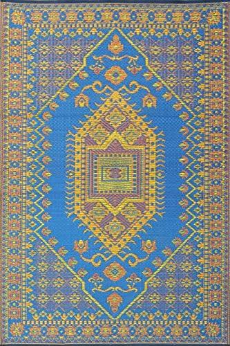 Mad Mats Oriental Turkish Indoor Outdoor Floor Mat, 5 by 8-Feet, Blue