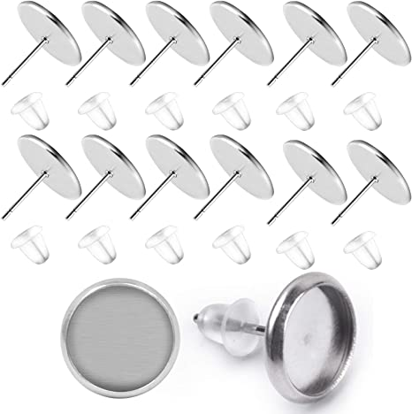 BronaGrand 50 Pieces Stainless Steel Stud Silver Earring Cabochon Setting Post Cup for 12mm and 50 Pieces Clear Rubber Earring Safety Backs