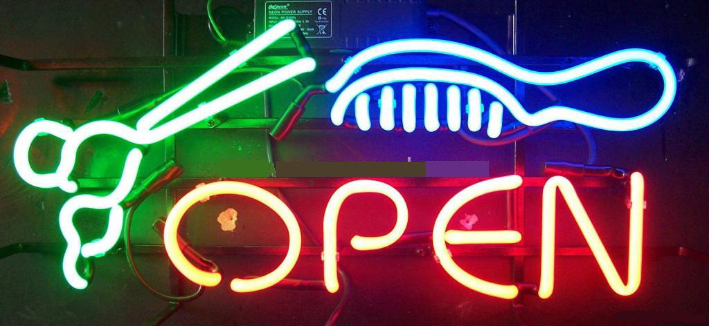 Salon Barber Open Neon Sign 17''x14''Inches Bright Neon Light for Business Beauty Spa Salon Shop Store