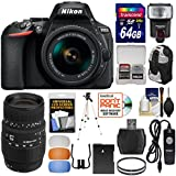 Nikon D5600 Wi-Fi Digital SLR Camera & 18-55mm VR DX AF-P 70-300mm Lens + 64GB Card + Case + Flash + Battery + Tripod + Filters + Remote Kit