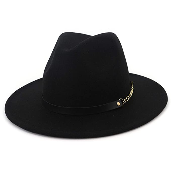 Image Unavailable. Image not available for. Color  Fedora Wide Brim Felt Hat  Women Navy Blue Casual Jazz Hats Men with Chain Solid Classic c232c00ba9f0