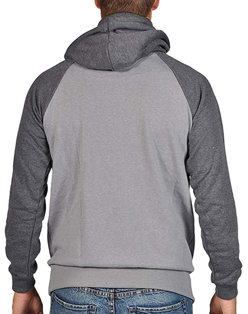 29631839a93 Amazon.com  ARSNL Men s Two Tone Ninja Hoodie - Heather Grey Charcoal   Clothing