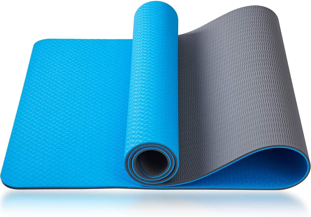 """Asvin Yoga Mat 1/4 Inch Thick Fitness Exercise Mat, Non Slip, Striped, Sweat - Proof, Eco Friendly, TPE Workout Mat for Yoga, Pilates and Floor Exercises, 68""""x27"""" : Sports & Outdoors"""