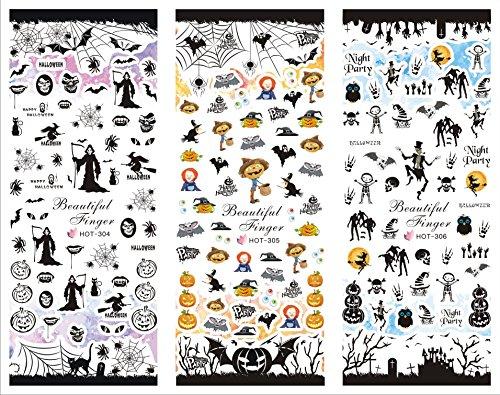 Halloween Cartoon Decal Nail Water Transfer Stickers Decoration Halloween - HOT304-306 Nail Sticker Tattoo - FashionDancing