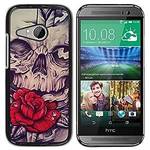 Be Good Phone Accessory // Dura Cáscara cubierta Protectora Caso Carcasa Funda de Protección para HTC ONE MINI 2 / M8 MINI // Rose Skull Red Vignette Sword Rock