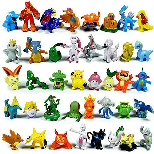 JasonHero 144 PCS Action Figures with Storage Case, Mini Anime Figures Toys Set for Pokemon Game Figure, Christmas, Party, Birthday Present Gifts for Kids Boys Girls