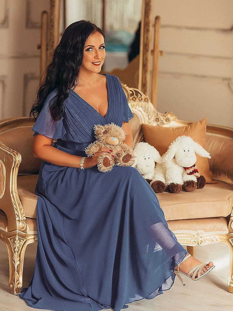 Ever-Pretty Vestito da Cerimonia Donna Stile Impero Linea ad A Scollo a V Maniche Corte Lungo 09890