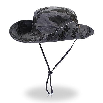 2e3060d5964 FayTop Unisex Outdoor Hiking hat Camouflage Boonie Hat Adjustable Bucket  Hats Wide Brim UV 50+