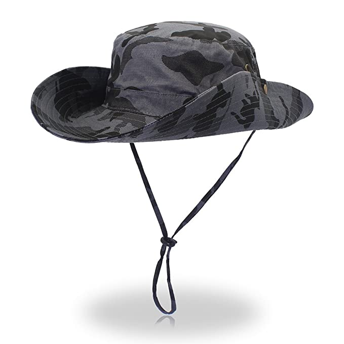4541fe8d034 FayTop Unisex Outdoor Hiking hat Camouflage Boonie Hat Adjustable Bucket  Hats Wide Brim UV 50+ Sun Protection Hats Cap for Men Women NewB10031-Hat-Grey  Camo