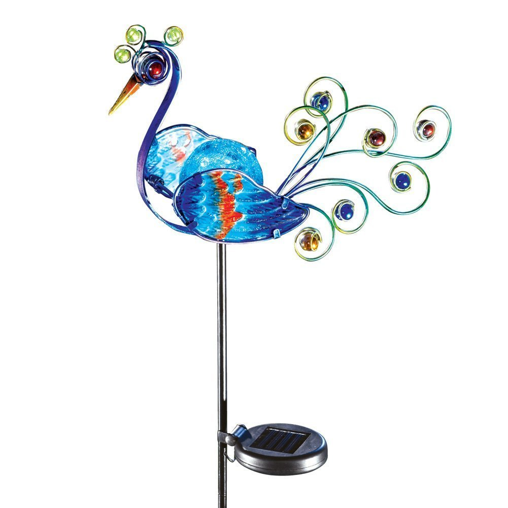 Solar Lighted Glass Peacock Outdoor Decor Metal Garden Statue Bird Yard Stake By CTD Store