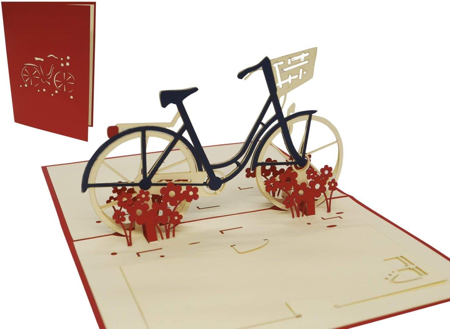 LIN-POP UP 3D Gru/ßkarten Fahrrad Gl/ückwunschskarten Gutscheinskarten Geburtstagskarten Venlo Damenfahrrad