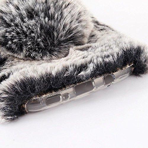 Nota 5 Funda Conejo, Samsung Note 5, SevenPanda Funda Conejo Funda Protectora Hecha a mano Diseño elegante Linda 3D Diamante Imitación Cristal Bling Cristalina Brillante Diseño Diamantes Caja Teléfono A - Marrón
