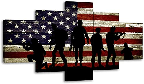 Large Size USA US American Flag Military Soldier Army Wall Art Canvas Print Thin Red Line Home Decor Decal Picture