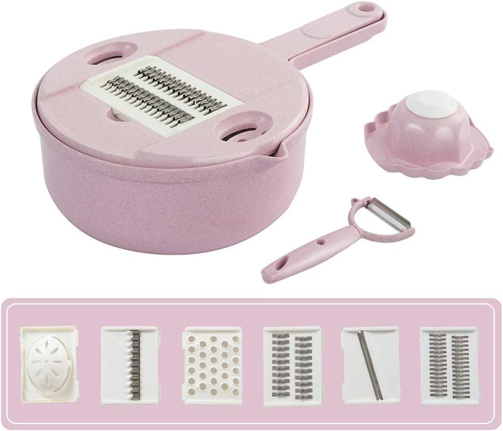LH's stores Cortadora de Verduras Rallador Cocina Multifuncional Trituradora Rallador Separador de Clara de Huevo Rallado para el hogar Rebanada Cocina (Color : Pink)
