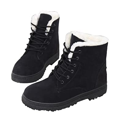 Mostrin Winter Women s Lace Up Snow Boots Waterproof Warm Fur Lined Suede  Flat Short Boots ( d4fa01697
