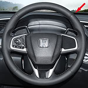 Eiseng Diy Stitch On Wrap Genuine Leather Car Steering Wheel Cover For 2016 2017