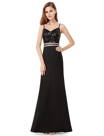 Ever Pretty Damen Sexy Pailetten Trägerkleid Abendkleider Maxikleider Größe  40 Schwarz 988ea24f87