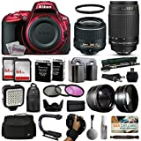 Nikon D5500 Red DSLR Digital Camera + 18-55mm VR II + 70-300mm f/4-5.6G Lens + 128GB Memory + (2) Batteries + Charger + LED Video Light + Backpack + Case + Filters + Auxiliary Lenses + $50 Gift Card