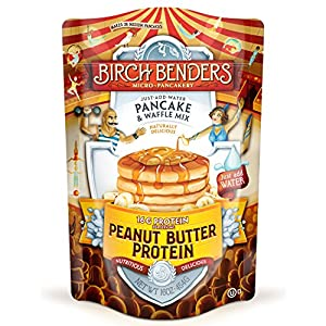 Performance Peanut Butter Protein Pancake and Waffle Mix with Whey Protein by Birch Benders, 16 Grams Protein Per Serving, 16oz