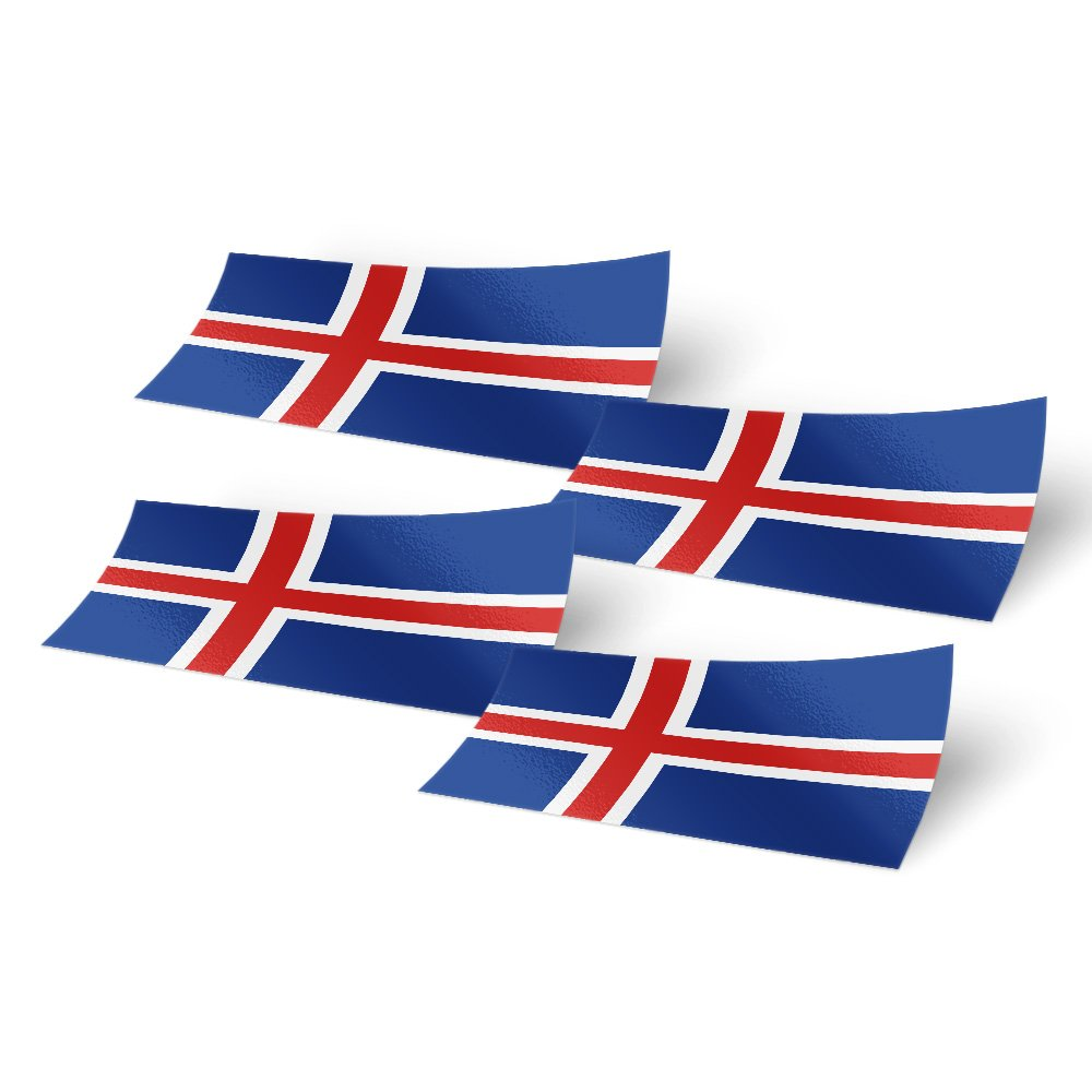 Amazon com iceland 4 pack of 4 inch wide country flag stickers decal for window laptop computer vinyl car bumper icelandic arts crafts sewing