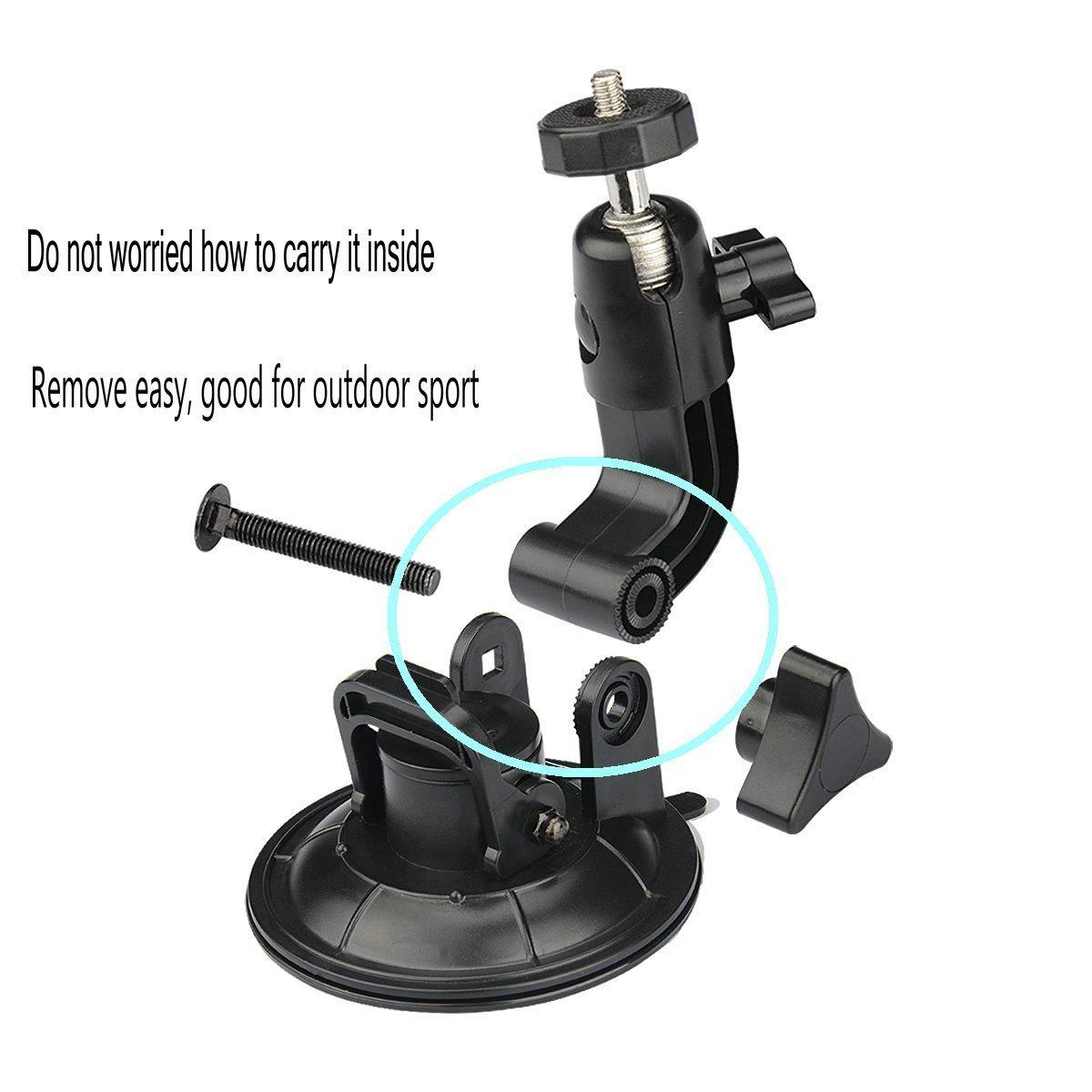 tr/ípode adaptador para GoPro Hero 6/5/negro Akaso ek7000/Xiaomi Yi c/ámara de acci/ón 4/K Sony apeman coche parabrisas soporte 9/cm tekcam 360/grados rotaci/ón soporte con ventosa