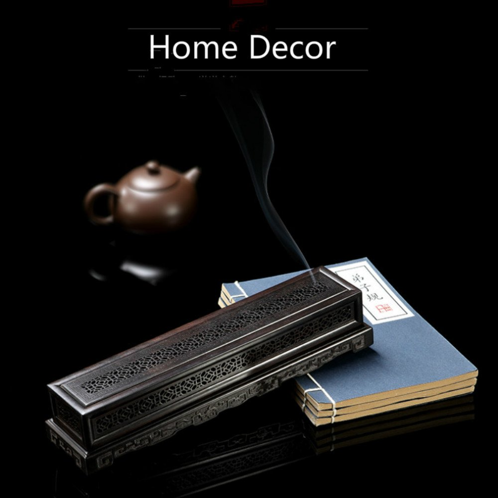 Rosewood Ebony Wood Incense Burner Holder Coffin Incense Burner Box Incense Stick Holder by Spie (Image #4)