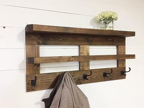 Rústico de madera estantería de salón y perchero de 36