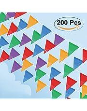 Cookey 200 Pcs Multicolor Pennant Banner, 100M Décorations en Tissu de Nylon Drapeaux pour Festivités Grand Opening Parties et Backyard Picnics