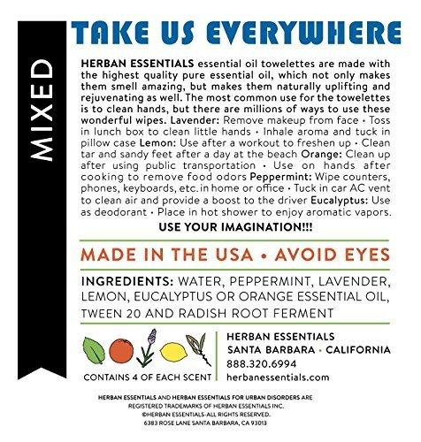 Herban Essentials Assorted Bag (all 5 scents): Lemon, Lavender, Peppermint, Orange and Eucalyptus (20 towelettes)