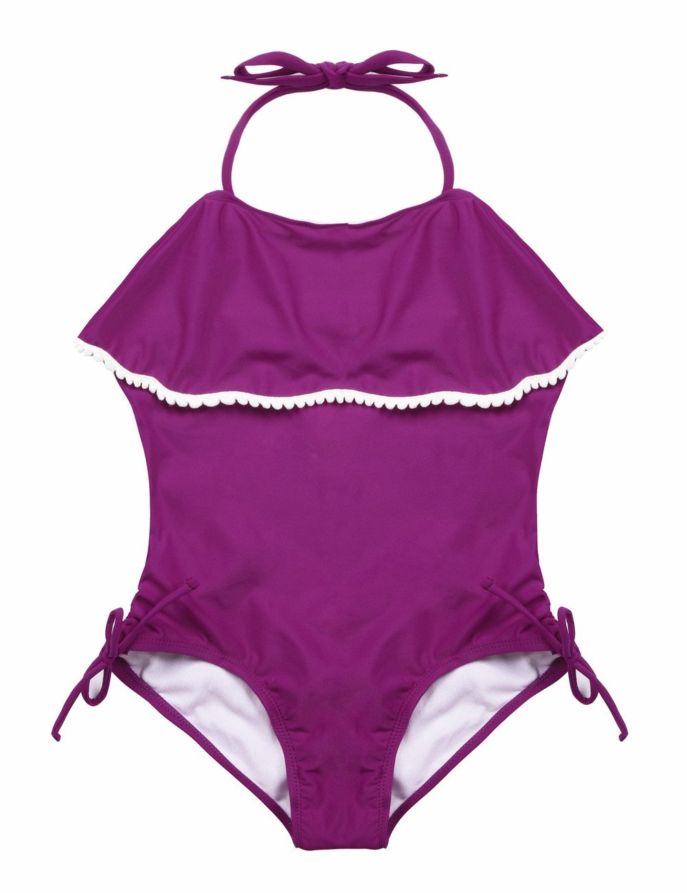 Firpearl Girls One Piece Swimsuit Falbaba Flounce Drawstring Halter Bathing Suit M
