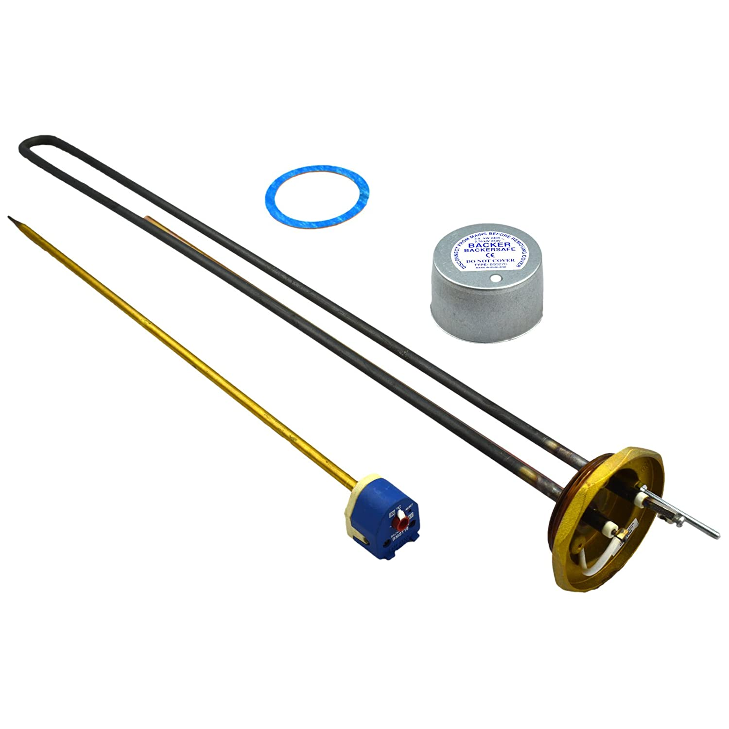 Backer Anti Corrosive Backerloy 27' Immersion Heater Element Fitted With BMST Thermostat with Integral Reset Safety Cut-Out Backer Electric Company Limited