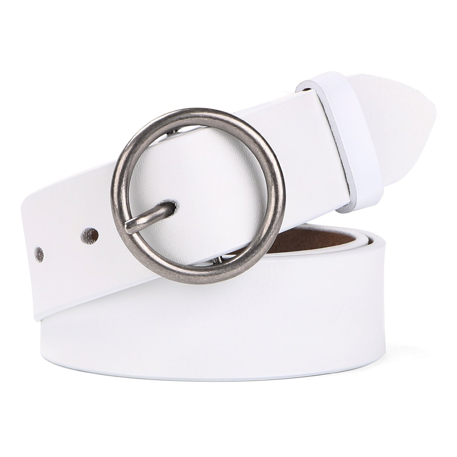 WERFORU Women Casual Dress Belt Genuine Leather Belt with Round Buckle (Suit Pant Size 24''-28'', Style1-05-White)