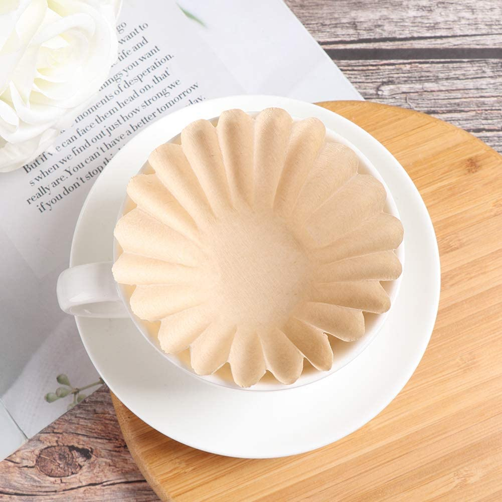 Romote Coffee Filters Cone Paper Basket Coffee Filters Natural Brown Biodegradable Basket Filters Paper Unbleached for Coffee Filter Flowers 1-2 Cups