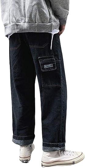 [YUNHEN]ジーンズ メンズ デニムパンツ ゆったり ロング ワイドパンツ デニム ファッション ストレートパンツ 大きいサイズ ストリート系 ジーパン ファッション ポケット Gパン