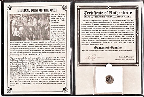 Biblical Coin - 1 MX magi ANCIENT Biblical Coin of The Magi,Silver, 35 BC-5 AD,With Album,Certificate 18mm Fine