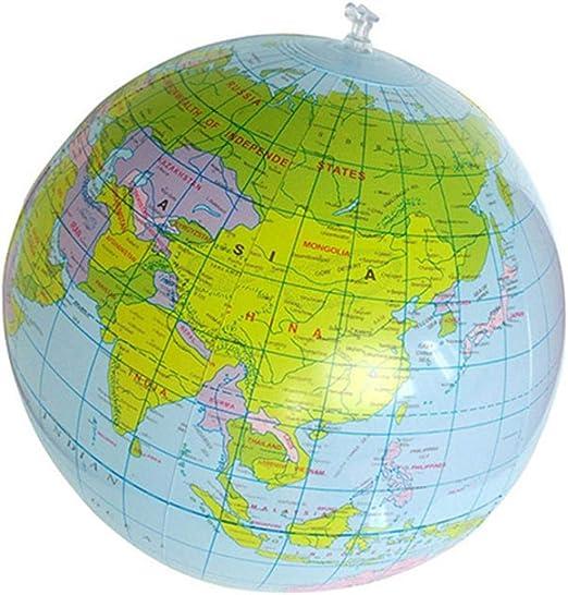 Ogquaton Globo Inflable del Mundo de 16 Pulgadas Geografía Mapa ...