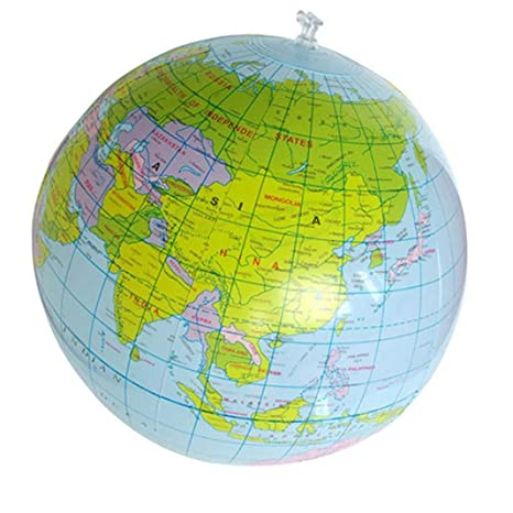 Ogquaton Globo Inflable del Mundo de 16 Pulgadas Geografía Mapa del Mundo Bola de Juguete Globo de Pelota de Playa para niños Aprender y Jugar ...