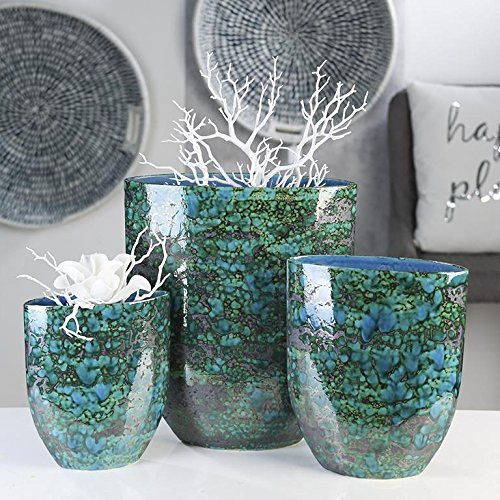 Casablanca Serie Vase Azur grün blau bronze Serie 3 Keramik,m.einzigartiger,reaktiver Glasur