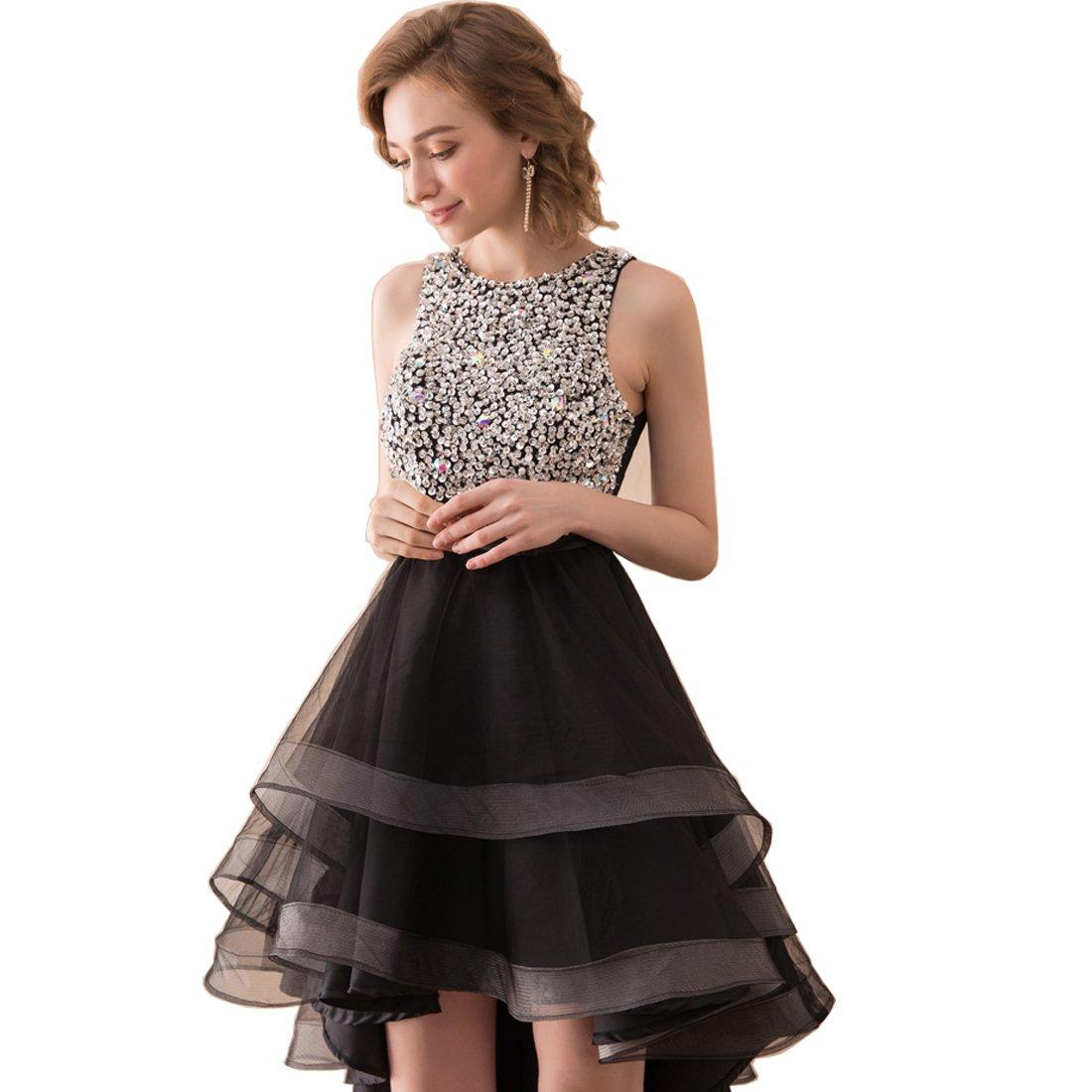 U-Swear Women Beaded Little Black Dress LBD A-Line Mini Open Back Short Formal Gown For Party US10