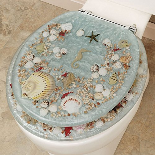 SEASHELL AND SEAHORSE RESIN TOILET SEAT - STANDARD SIZE, BLU