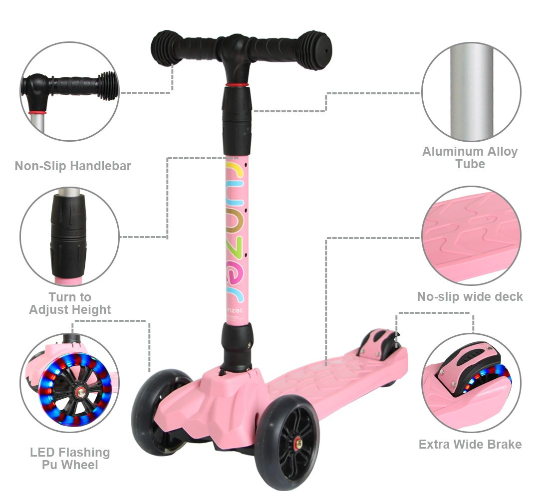 Easy/_Way 3 Wheels Kick Scooter for Kids Boys Girls Beginners with Colorful Flashing Wheels Adjustable Height Folding Scooter for Kids Light Up Scooter Birthday Gift Toys for Kids Boys 3-12 Year Old