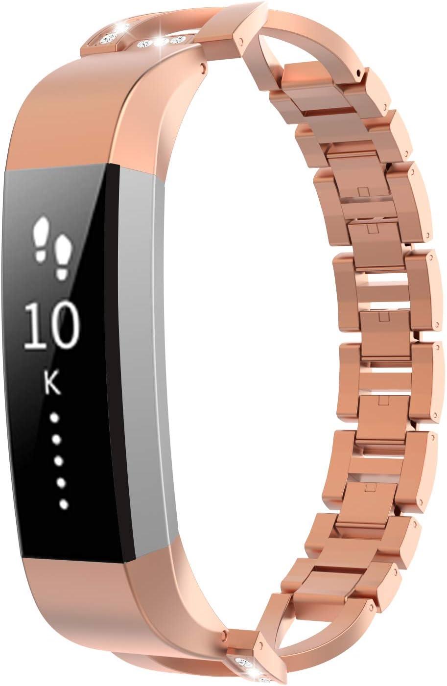 TiMOVO Correa Compatible con Fitbit Alta/Alta HR, Pulsera de Aleación de Metal con Incrustaciones de Diamantes Ajustable Respirable Compatible con Fitbit Alta/Alta HR - Oro Rosa