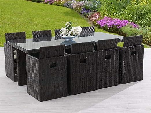 DCB - Juego de Muebles de jardín (Resina, Mesa y 8 sillas), Color marrón: Amazon.es: Jardín
