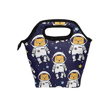 Wamika - Bolsa térmica para el almuerzo, diseño de gatos de astronauta y dibujos animados para la escuela, el trabajo y la oficina: Amazon.es: Hogar