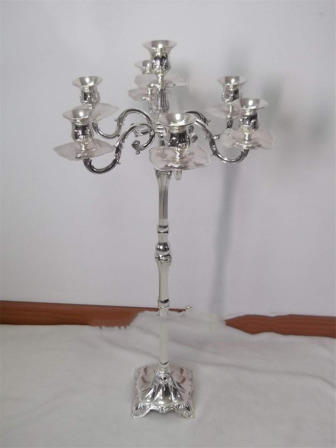 Unique Candelabra, 83Cm Height 7-Lights Silver Finish Candle Holder, Party Or Use Floor Candlesticks